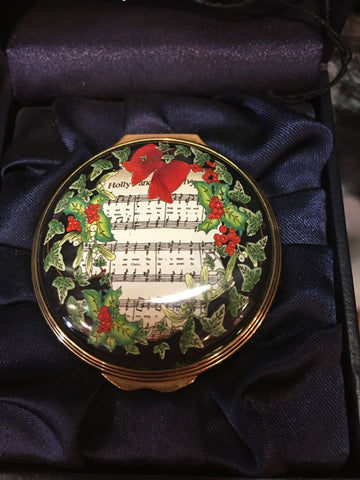 Christmas Enamels | Holiday Carol Christmas Enamel Box | Happy Christmas | Merry Christmas | Holiday Decoration | Holiday and Winter Enamels Decoration | Halcyon Days | Made in England