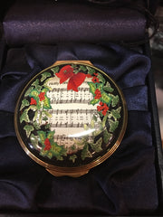 Christmas Enamels | Holiday Carol Christmas Enamel Box | Happy Christmas | Merry Christmas | Holiday Decoration | Holiday and Winter Enamels Decoration | Halcyon Days | Made in England-Enamel Box-Sterling-and-Burke