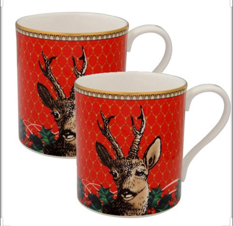 Halcyon Days Antler Trellis and Stag Mugs in Red, Set of 2