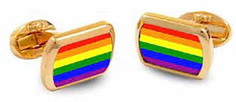 Halcyon Days Rainbow Rectangular Enamel Cufflinks in Gold-Enamel Cufflinks-Sterling-and-Burke