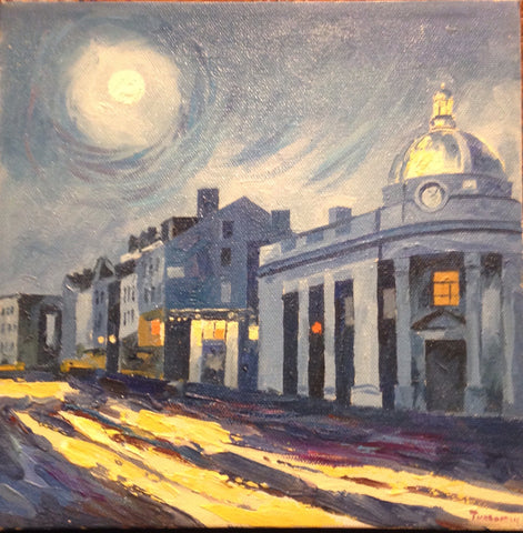 "Wisconsin Avenue at Night | Washington, DC Art | Original Oil and Acrylic Painting on Canvas by Zachary Sasim | 10"" by 10"" 
