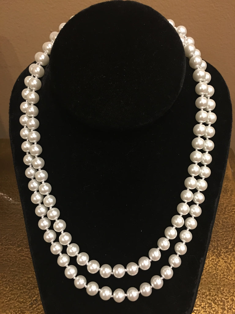 "Pearl Necklace | Salt Water Pearls | Double Strand | Hand Knotted Pearls | 18"" Necklace 