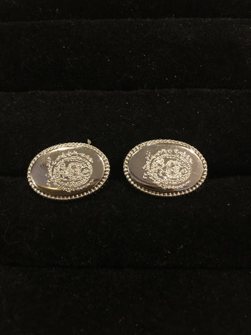 Engraved Oval Georgetown Crest Cufflinks-Cufflinks-Sterling-and-Burke