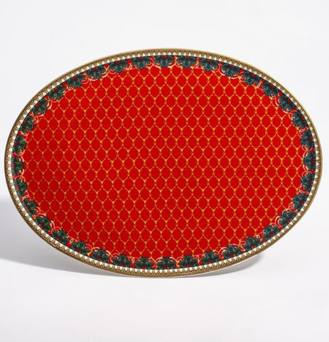 Halcyon Days Antler Trellis and Stag Candy Plate in Red