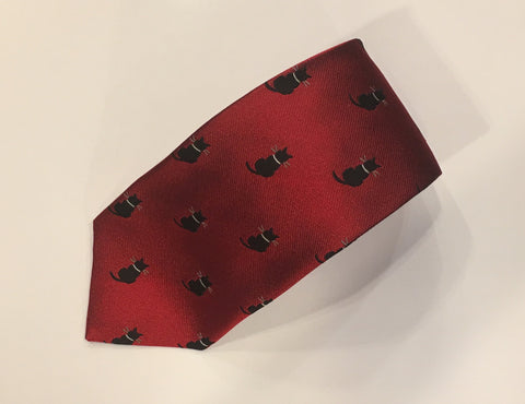 Large Cat Motif Tie, Red and Black | Silk | Budd Shirtmakers | Made in England-Necktie-Sterling-and-Burke