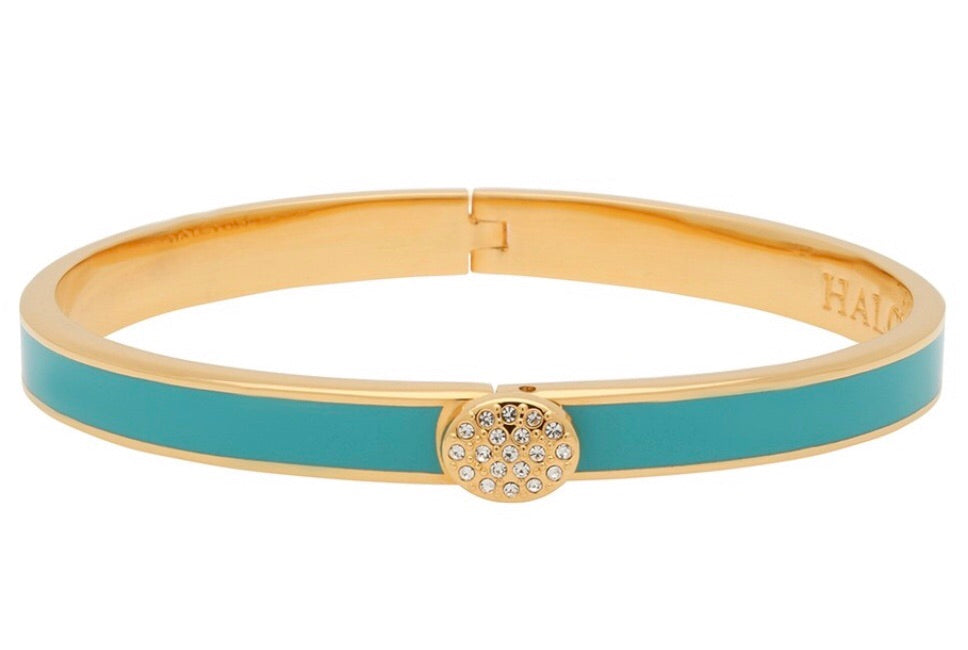 Enamel Bangle | 6mm Skinny Pave Button Turquoise and Gold Bangle | Halcyon Days | Made in England-Bangle-Sterling-and-Burke
