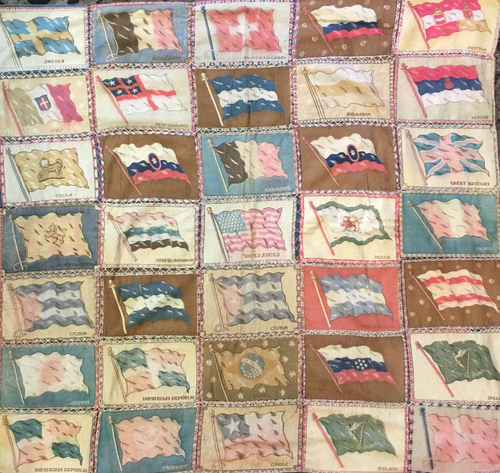 Vintage Cigarette Flags | Flag Quilt | 38 by 36 Inches-Vintage Flag-Sterling-and-Burke
