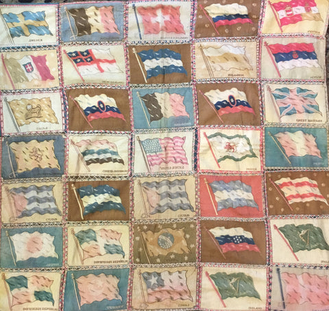 Vintage Cigarette Flags | Flag Quilt | 38 by 36 Inches