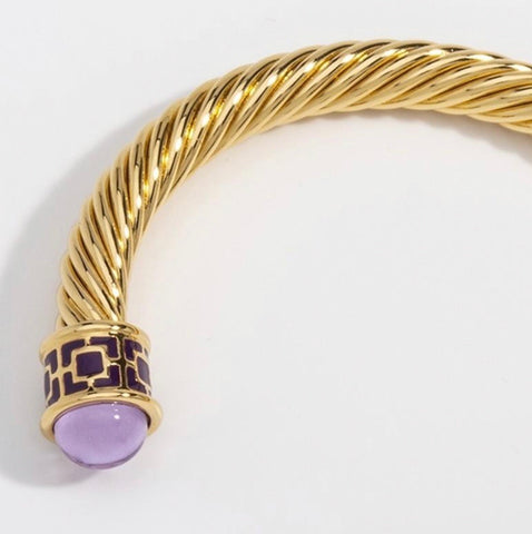 Halcyon Days Maya Open Twist Wire Bracelet in Amethyst and Gold-Jewelry-Sterling-and-Burke