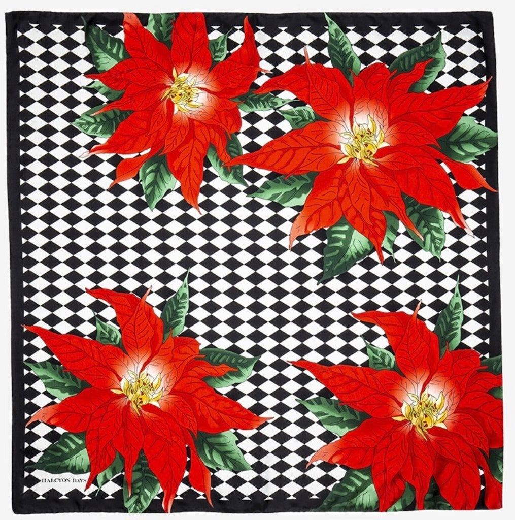 Halcyon Days Parterre with Poinsettia Silk Scarf in Black, 36 by 36 Inches-Ladies Silk Scarf-Sterling-and-Burke