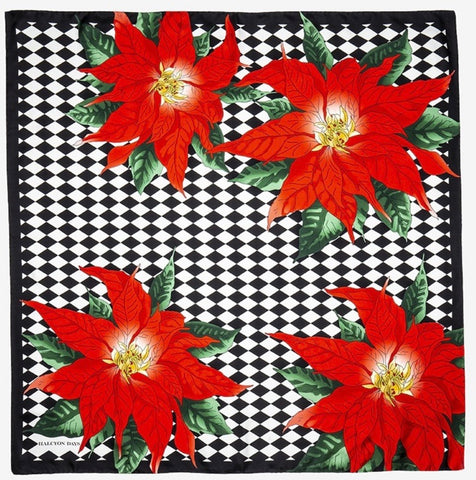 Halcyon Days Parterre with Poinsettia Silk  Scarf in Black, 36 by 36 Inches