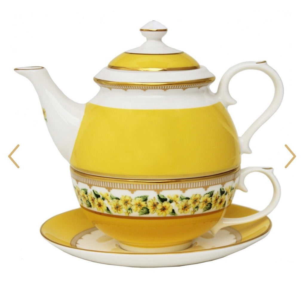 Halcyon Days Shell Garden Floral Primula Tea for One in Yellow-Bone China-Sterling-and-Burke