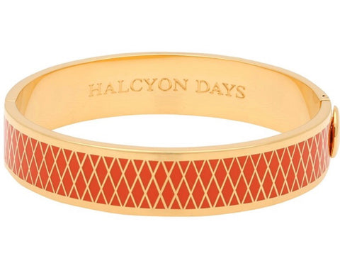 Halcyon Days 13mm Parterre Hinged Enamel Bangle in Orange and Gold