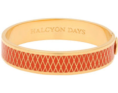 Halcyon Days 13mm Parterre Hinged Enamel Bangle in Orange and Gold-Jewelry-Sterling-and-Burke