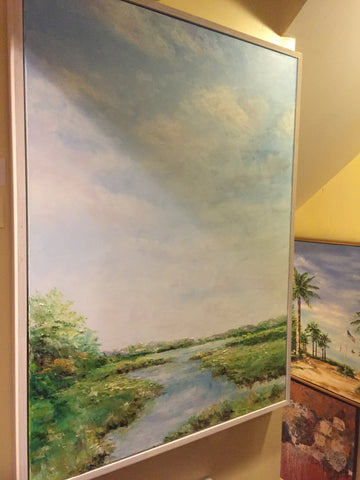 "Art | Sunlight on the Bay | Original Oil Painting by Claire Howard | 40"" x 30""-Oil Painting-Sterling-and-Burke"