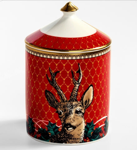 Halcyon Days Antler Trellis & Stag Jasmine Lidded Candle in Red-Candle-Sterling-and-Burke