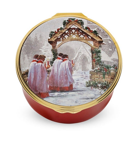 Halcyon Days Christmas Morning Musical Enamel Box, 'O Come all ye faithful'
