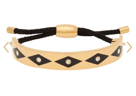 Halcyon Days 1cm Parterre Sparkle Friendship Bangle in Black and Gold