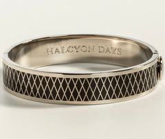 Halcyon Days 13mm Parterre Hinged Enamel Bangle in Black and Palladium-Jewelry-Sterling-and-Burke