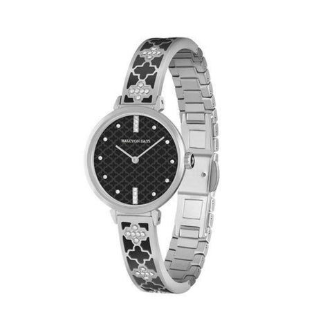 Agama Sparkle Bangle Strap Watch | Black and Palladium | Halcyon Days | Made in England