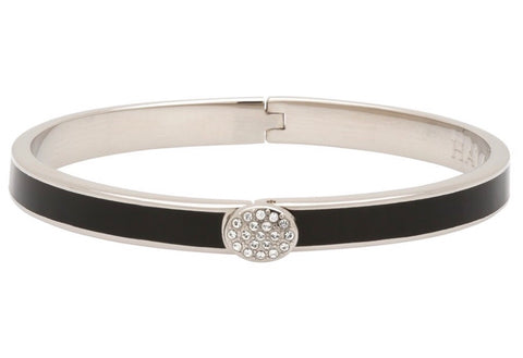 Halcyon Days 6mm Skinny Pave Button Hinged Enamel Bangle in Black and Palladium