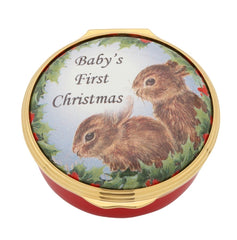 Halcyon Days Baby's First Christmas Enamel Box-Enamel Box-Sterling-and-Burke