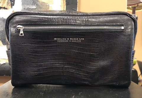 Two Zip Wet Pack | Toiletry Kit | Dopp Kit | Black | Handmade in England | Sterling and Burke