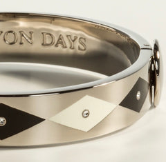 Halcyon Days 1cm Sparkle Hinged Enamel Bangle in Black, Cream, and Palladium-Jewelry-Sterling-and-Burke
