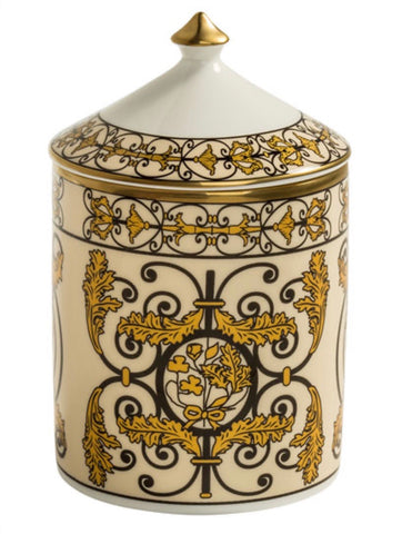 Halcyon Days Kensington Palace Gates Lidded Candle in Black and Gold-Candle-Sterling-and-Burke