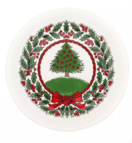 Halcyon Days Vintage Christmas Tree Coasters, Set of 4-Bone China-Sterling-and-Burke