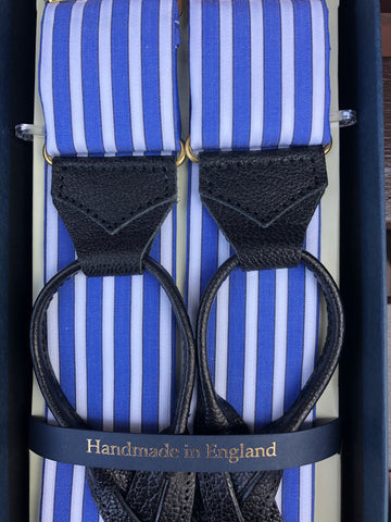 Edwardian Blue Budd Stripe Braces, Edwardian Blue | Suspenders | Budd Shirtmakers | Made in England-Braces / Suspenders-Sterling-and-Burke