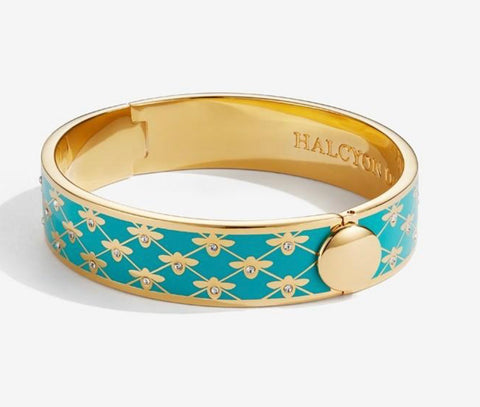 Halcyon Days 13mm Bee Sparkle Trellis Hinged Enamel Bangle in Turquoise and Gold-Jewelry-Sterling-and-Burke
