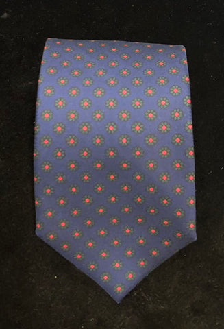 Daisy Madder Tie | Navy and Green | Silk | Budd Shirtmakers | Made in England