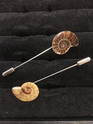Ammonite Fossil Lapel Pin, Brown
