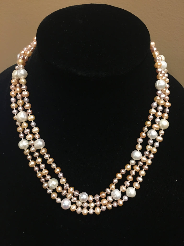 "Pearl Necklace | Fresh Water Pearls | Single Strand | Hand Knotted Pearls | 53"" Necklace 
