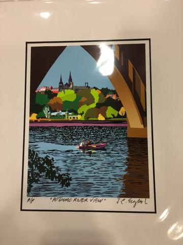 Georgetown Univ | Georgetown University | Georgetown View from the Potomac River | Artist Joseph Craig English | 11 by 14 Inches-Giclee Print-Sterling-and-Burke