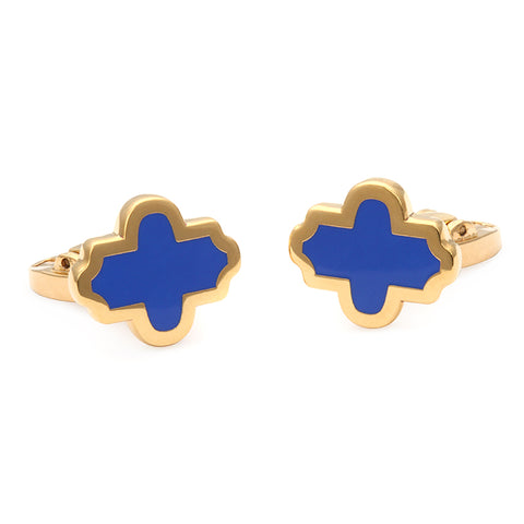 Enamel Cufflinks | Single Agama Cufflinks, Navy and Gold | Halcyon Days | Made in England
