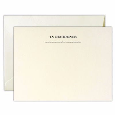 """In Residence""  Engraved Stationery 