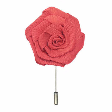 Isabelle Flower Lapel Pin | Pink, Red, and Ivory Creme Silk | Floral Lapel Pin | Hand Made in USA-Lapel Pin-Sterling-and-Burke