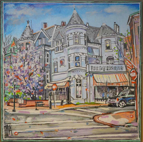 "Georgetown University Art | 27 and P Street DC | Original Oil Painting on Wood by Joanna Tyka | 24"" x 24""-Oil Painting-Sterling-and-Burke"