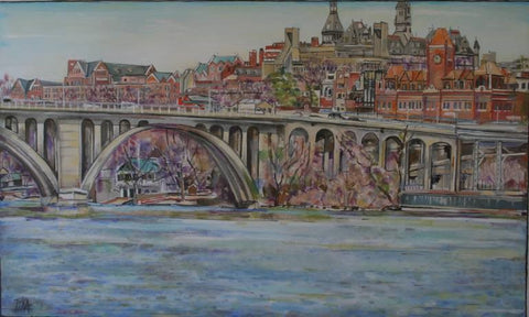 Georgetown Univ Art | Georgetown University Painting | GU Key Bridge Painting | Very Large Georgetown DC Painting | Original Oil Painting on Canvas | 66 by 40 Inches | Artist Joanna Tyka