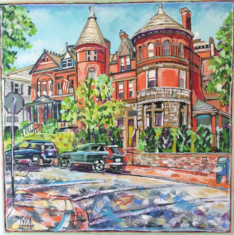 "Art | Taylor Birch House | Original Oil Painting on Wood by Joanna Tyka | 24"" x 24""-Oil on Wood-Sterling-and-Burke"