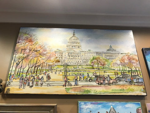 "Art | Capitol Building | Oil on Canvas by Joanna Tyka | 31"" x 54""-Oil Painting-Sterling-and-Burke"