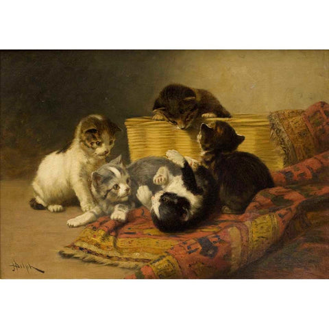 "Antique Oil Painting | Kittens at Play by John Henry Dolph | 20 1/8"" x 26 1/4"""