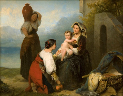 "Antique Oil Painting | Courtship & The Shepherd's Family, 1865 (pair) by Karl Frans Philippeau | 16 1/2"" x 18 1/4"""