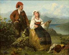 "Antique Oil Painting | Courtship & The Shepherd's Family, 1865 (pair) by Karl Frans Philippeau | 16 1/2"" x 18 1/4""-Oil on Panel-Sterling-and-Burke"