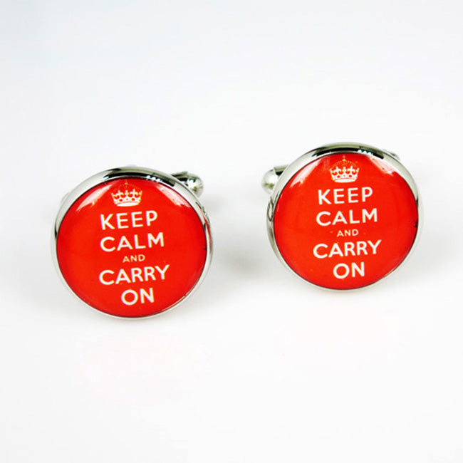 Keep Calm and Carry on Cufflinks | Round | Red and White | Sterling and Burke-Cufflinks-Sterling-and-Burke