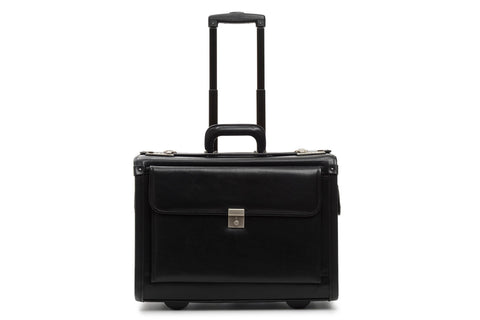 Mobilemax Wheeled Leather Catalog Case | Leather Wheeled Trial Bag