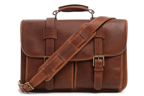 Garfield Leather Brief Bag | Made in USA | Initials Available | Sterling and Burke-Korchmar Business-Sterling-and-Burke