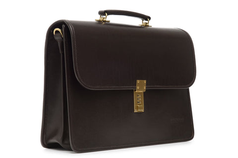 Elliot Lux Leather Double Gusset Flap Over Brief Bag-Brief Bag-Sterling-and-Burke
